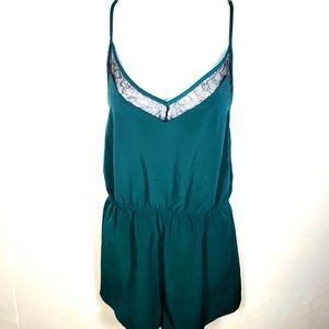 Teal Green Romper Forever21 Size Large Lace Silky